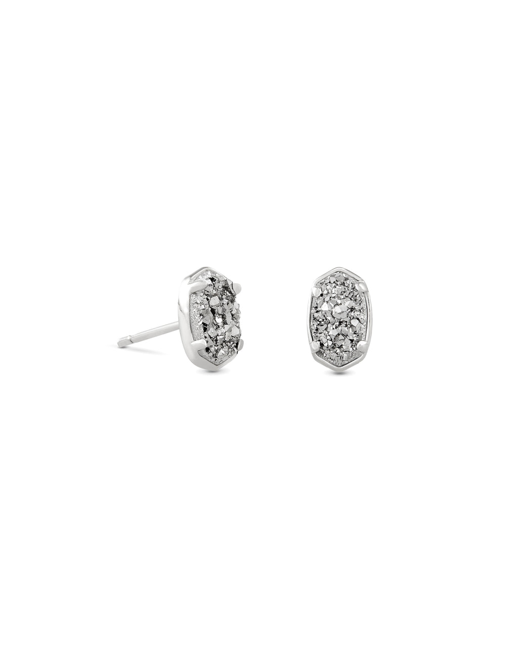Emilie Stud Earring in Silver Platinum Drusy