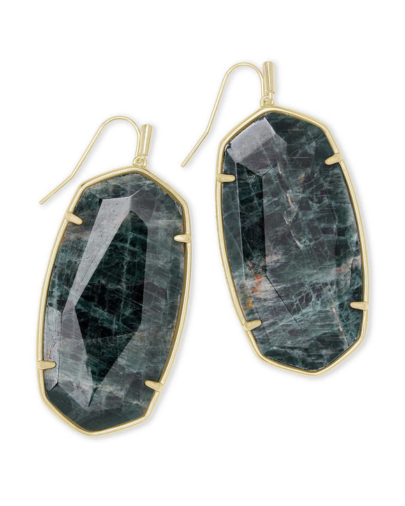 Faceted Danielle Drop Earrings in Gold Green Apatite