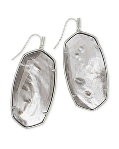 Faceted Danielle Drop Earrings in Rhodium Gray Illusion