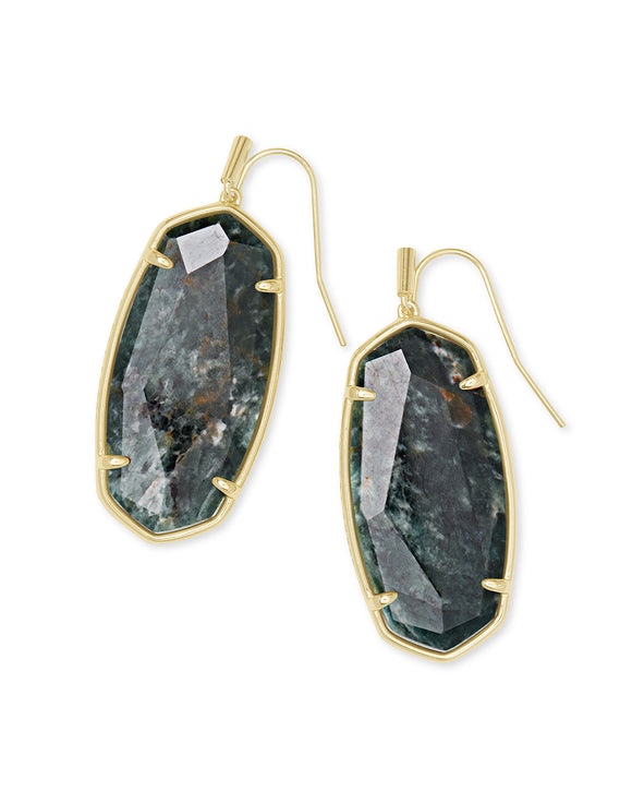 Faceted Elle Drop Earrings in Gold Green Apatite