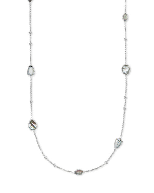 Gwenyth Long Stand Rhodium Necklace in White Mix