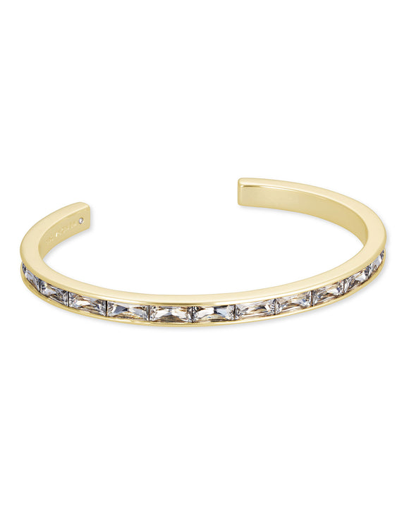 Jack Cuff Bracelet in Gold White Crystal