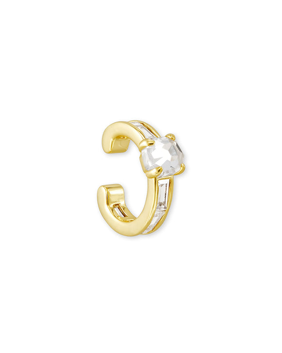 Jack Ear Cuff Gold Metal and White Crystal