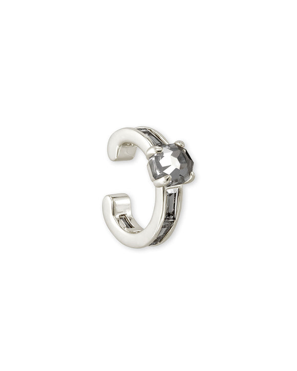 Jack Ear Cuff Rhodium Metal and White Crystal