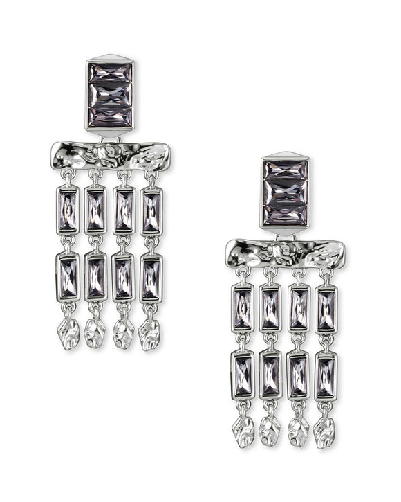 Jack Small Statement Earring in Rhodium Gray Crystal