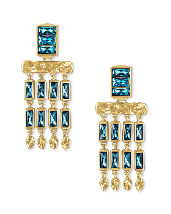 Jack Small Statement Earring in Vintage Gold Teal Crystal