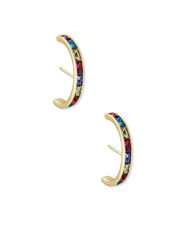 Jack Statement Stud Earring in Gold Jewel Tone Mix
