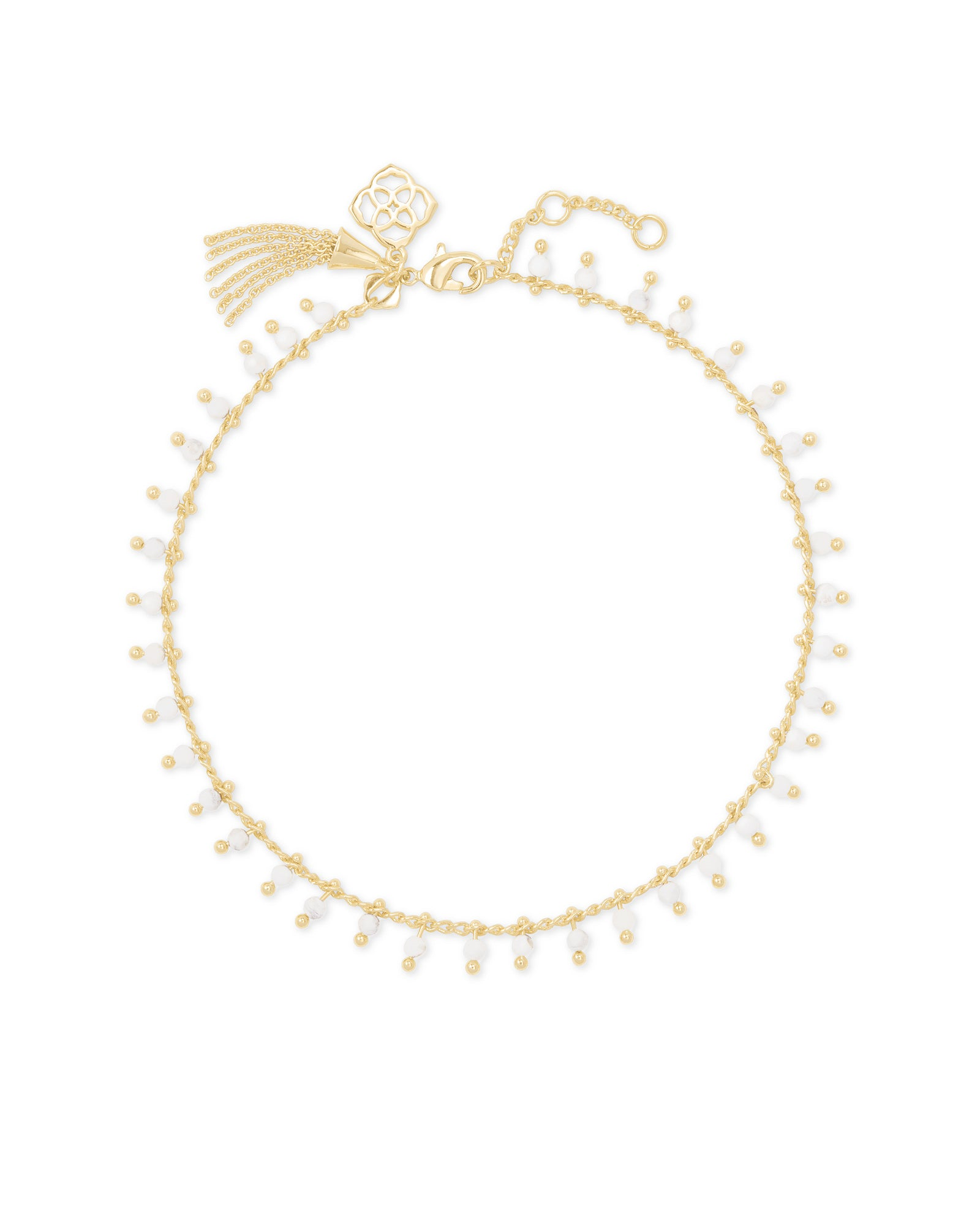 Jenna Anklet in Gold White Howlite