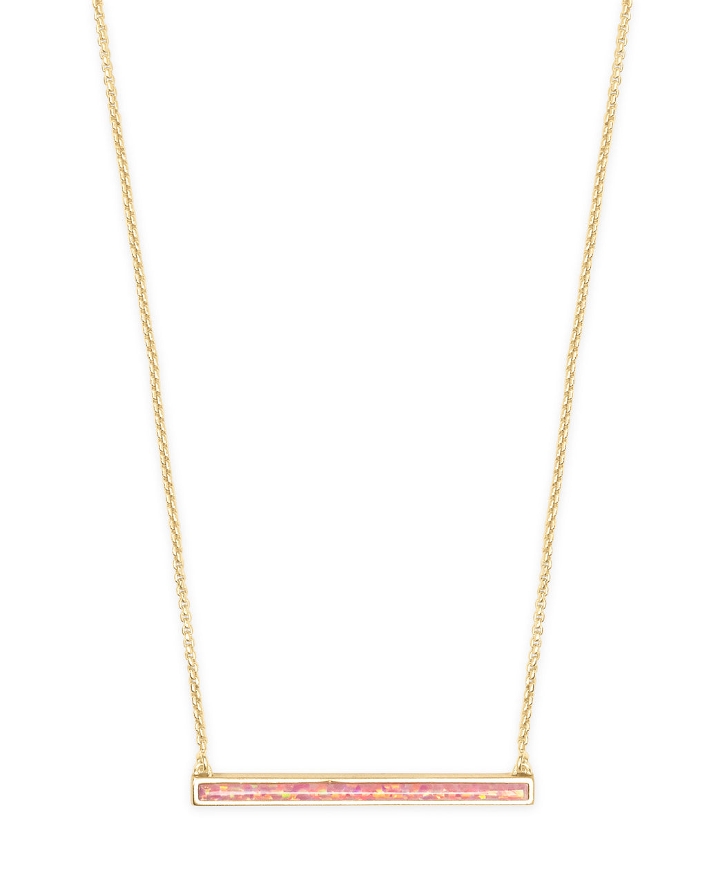 Kelsey Short Pendant Necklace in Gold Coral Kyocera Opal