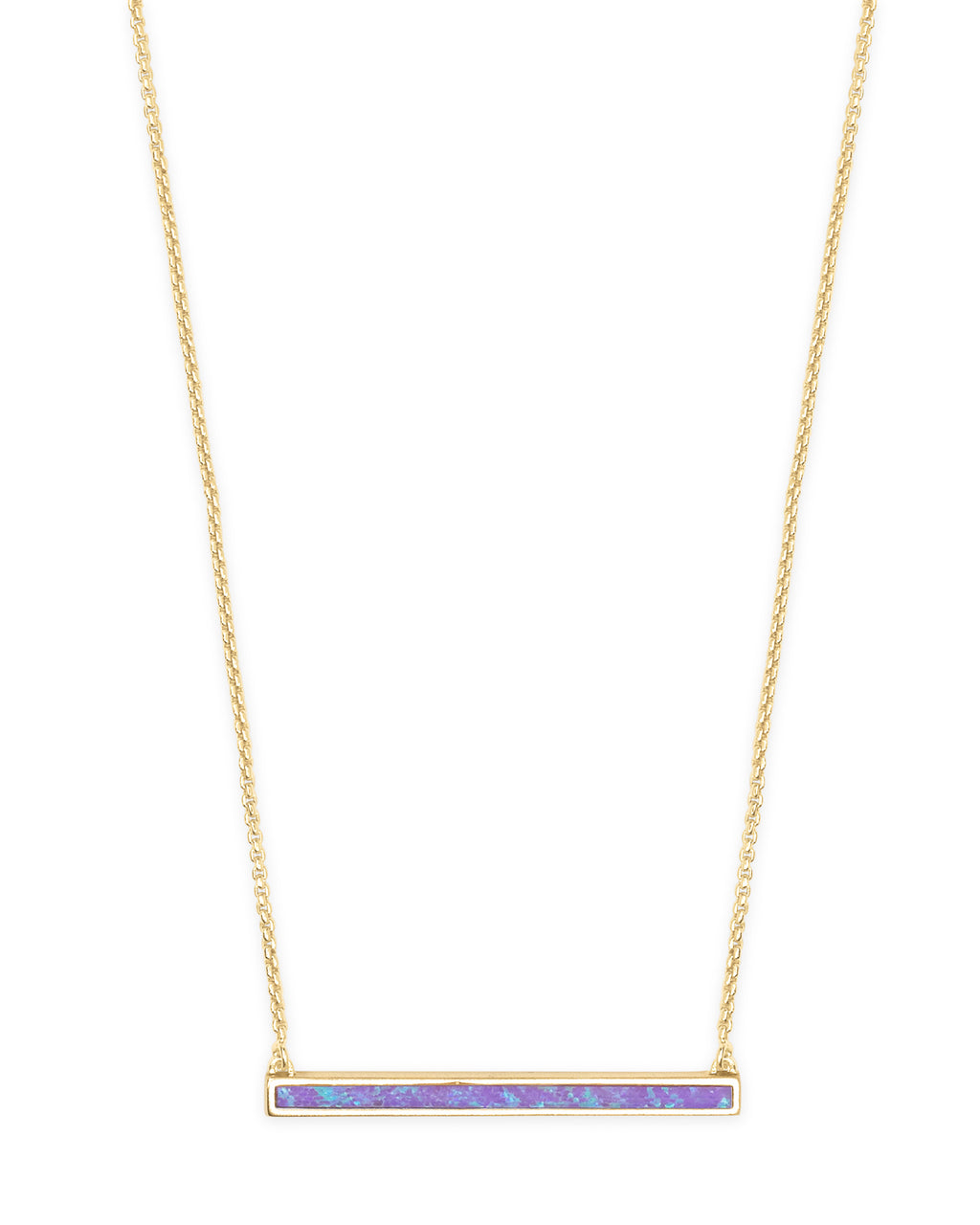 Kelsey Short Pendant Necklace in Gold Violet Kyocera Opal