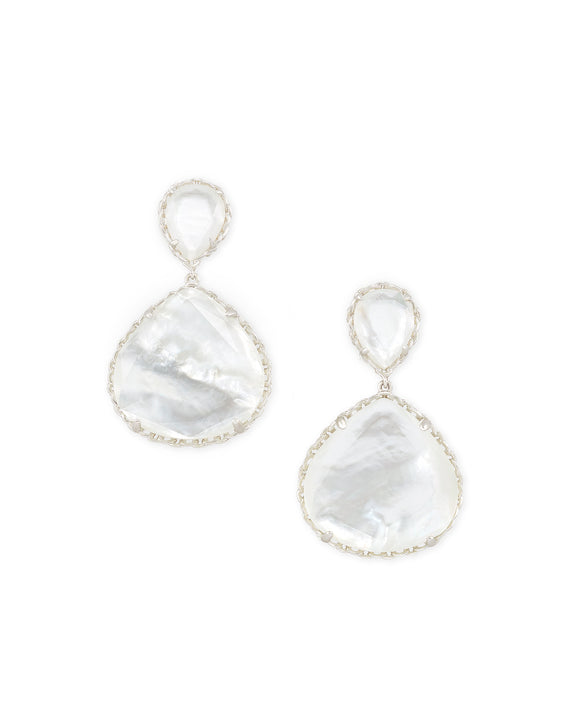 Kenzie Clip Rhodium Earring in Ivory Mother of Pearl