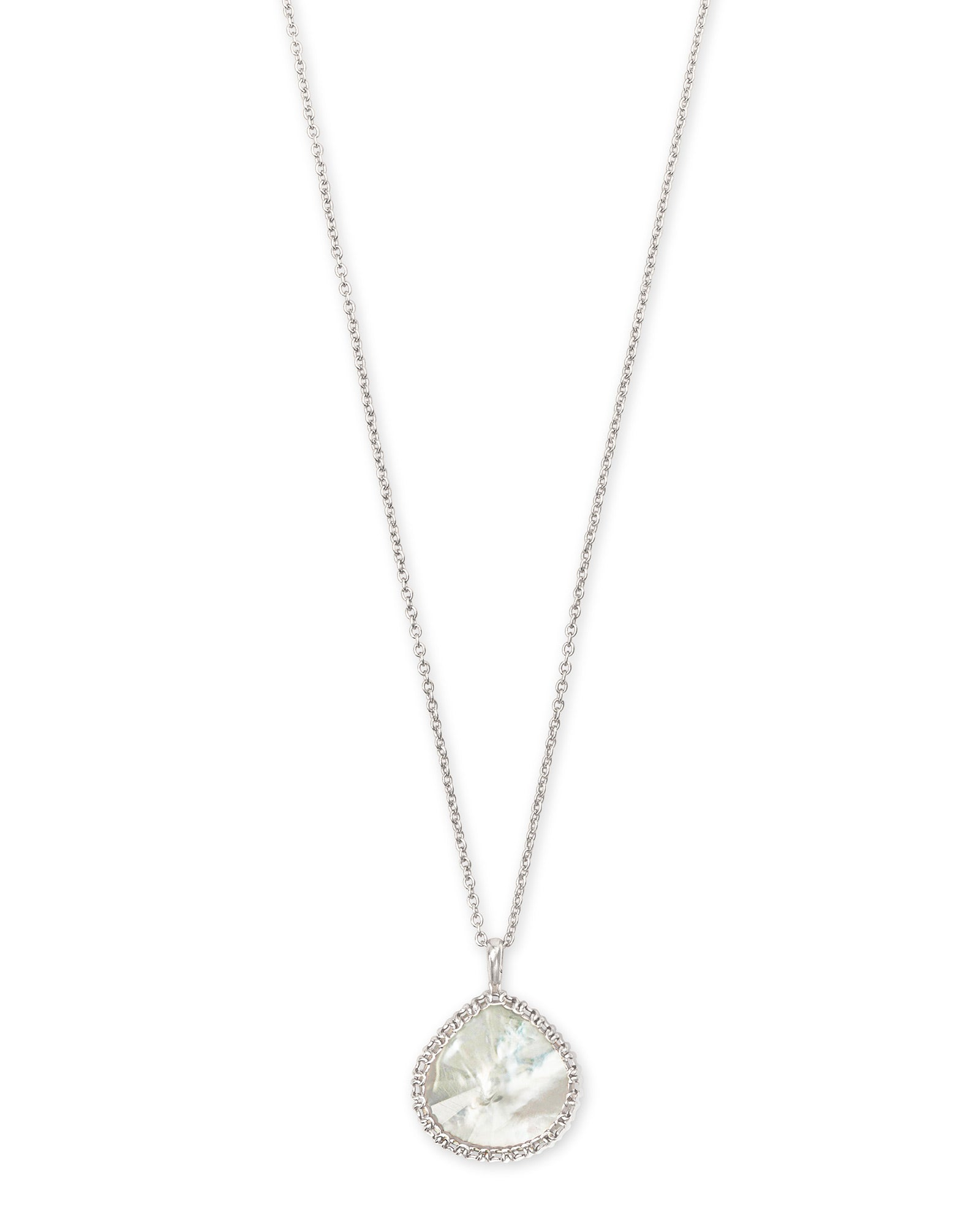 Kenzie Rhodium Necklace in Ivory Mother Of Pearl