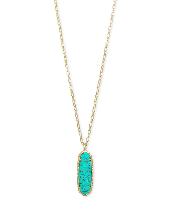 Layla Long Pendant Necklace in Gold Bronze Teal Veined Turquoise