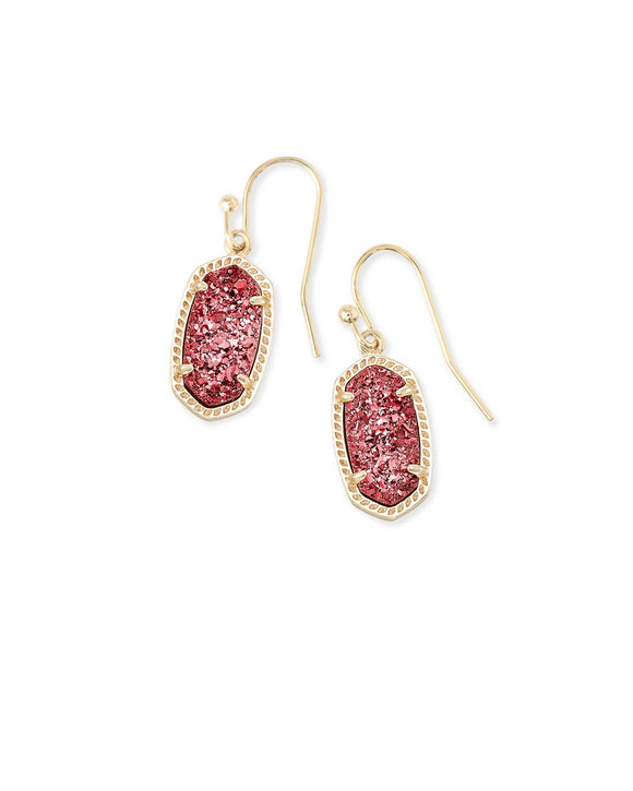 Lee Gold Drop Earrings In Raspberry Drusy