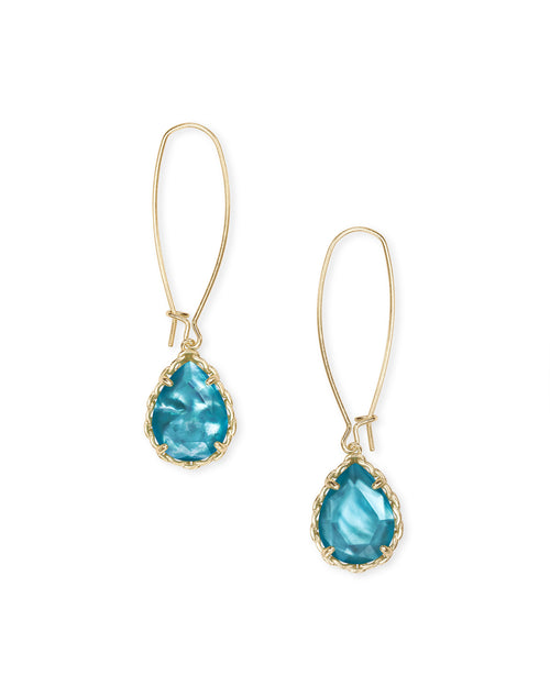 Macrame Dee Gold Earrings In Aqua Illusion