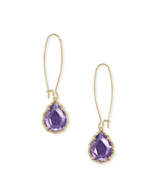 Macrame Dee Gold Earrings In Purple Mica