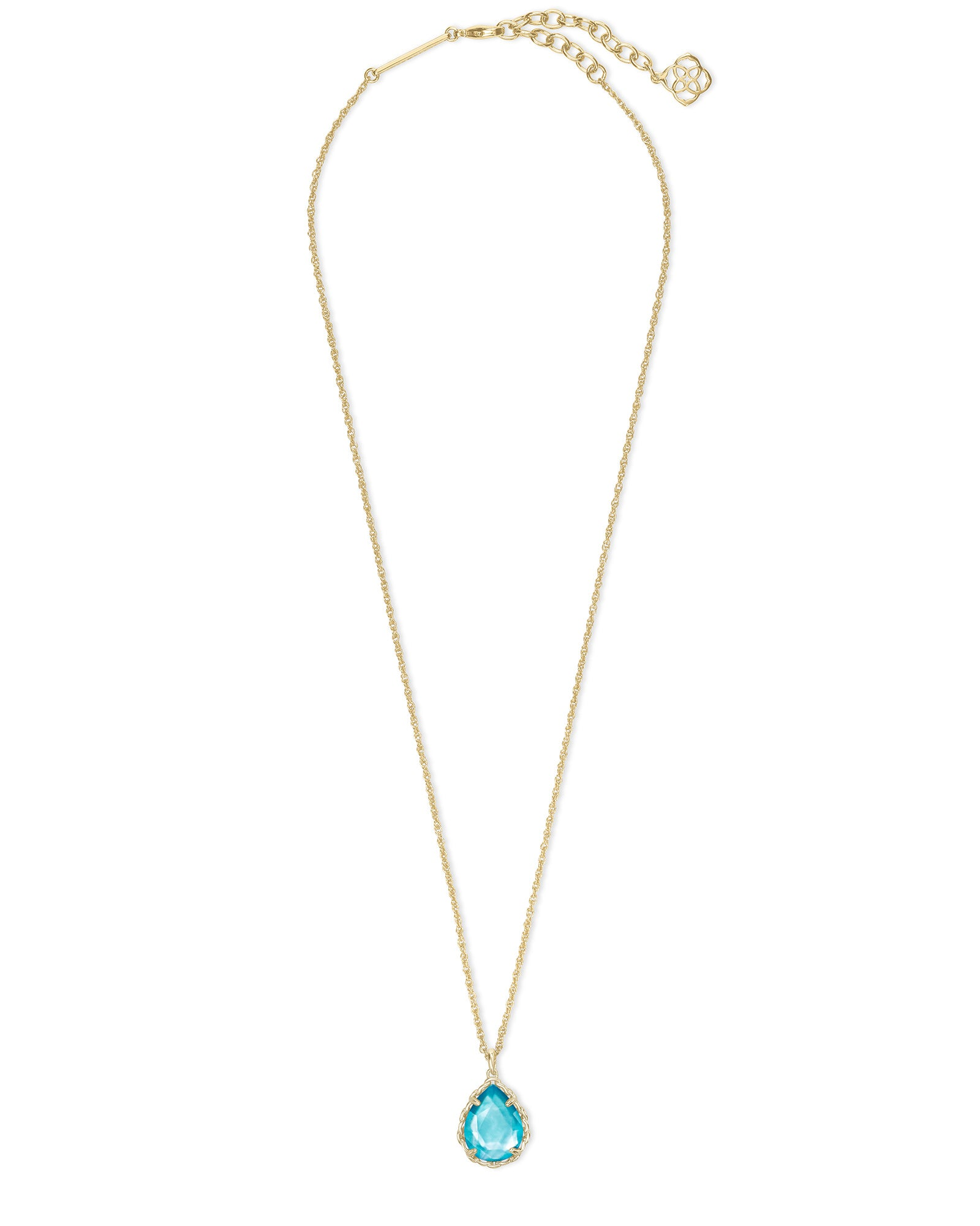 Macrame Dee Gold Necklace in Aqua Illusion