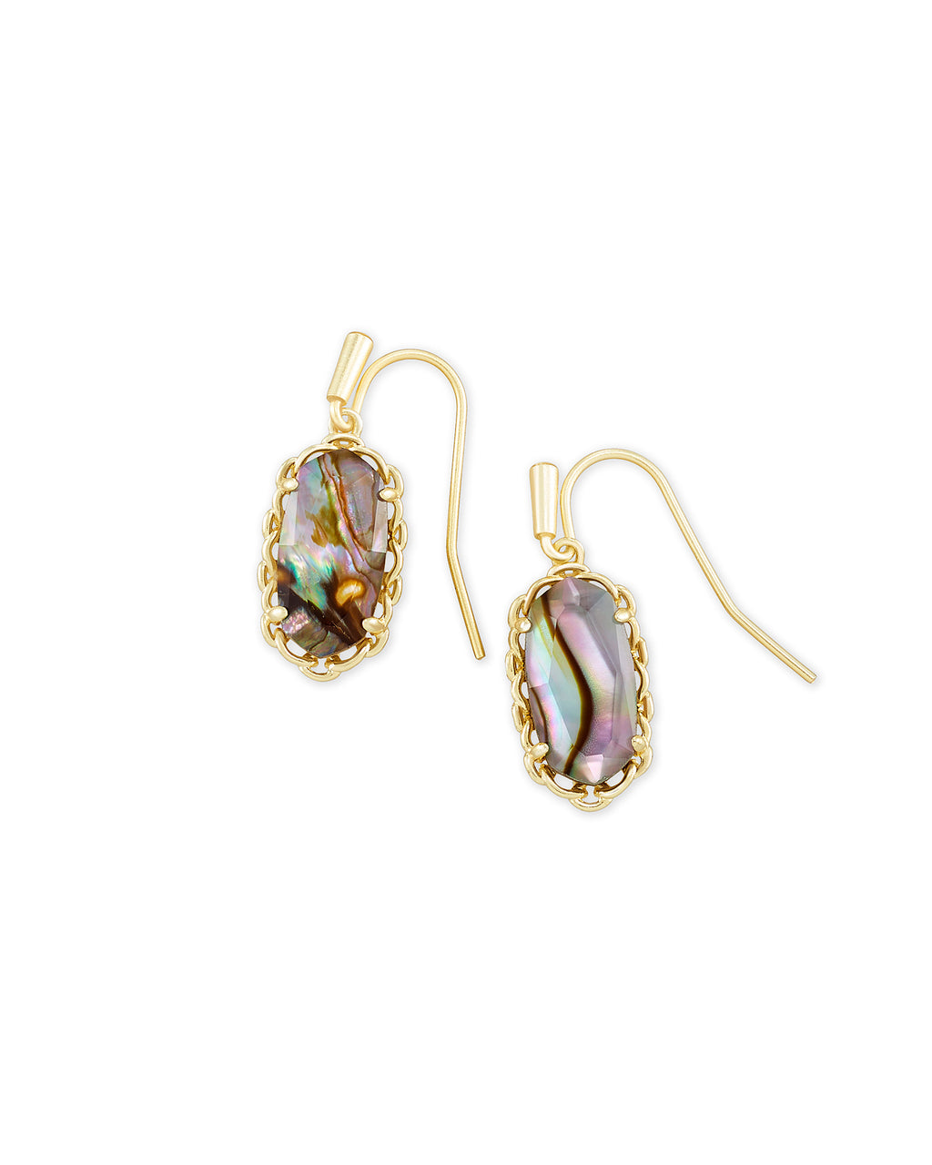 Macrame Lee Gold Earring in Nude Abalone