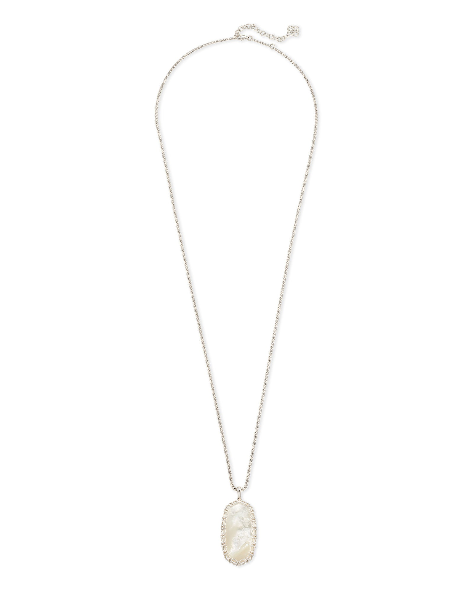 Macrame Reid Rhodium Necklace in Ivory Mother Of Pearl