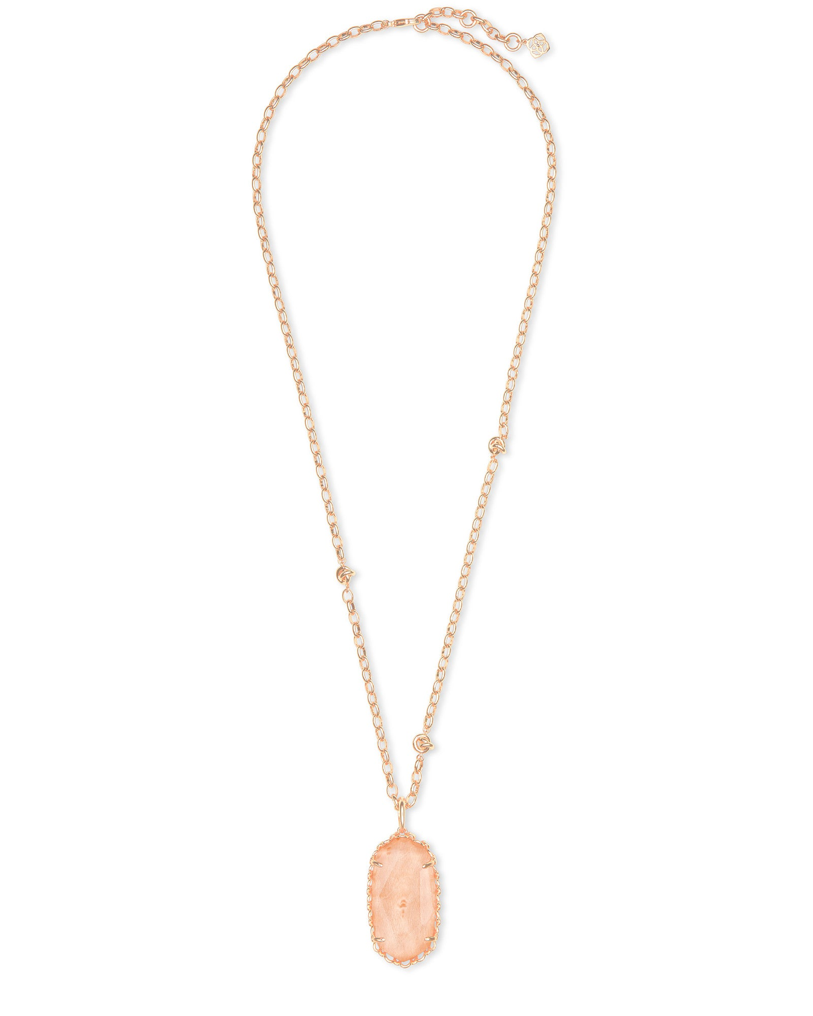 Macrame Reid Rose Gold Necklace in Blush Wood