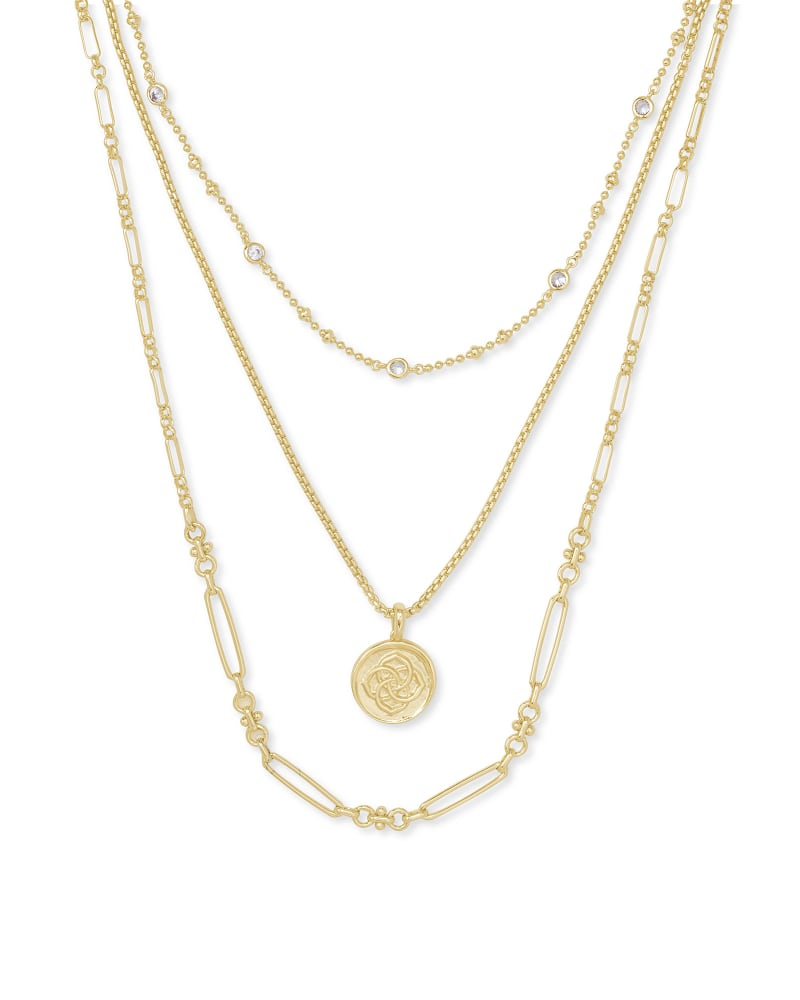 Medallion Triple Stand Necklace in Gold