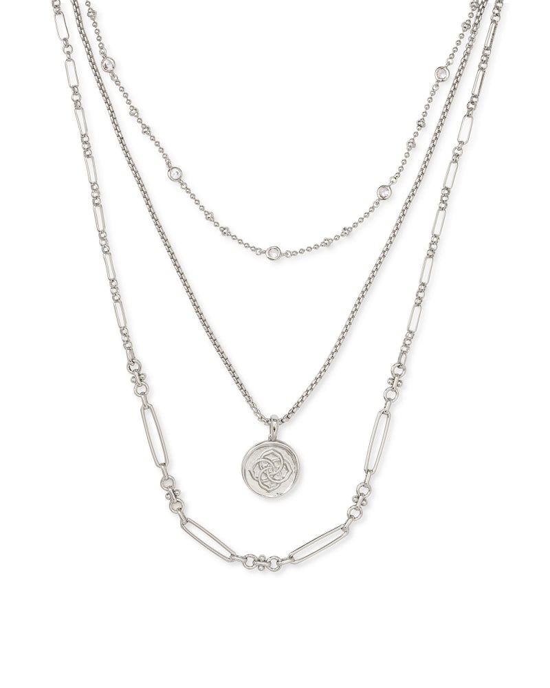 Medallion Triple Stand Necklace in Silver