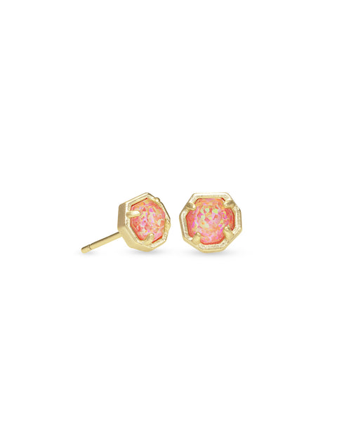 Nola Stud Earring in Gold Coral Opal Illusion