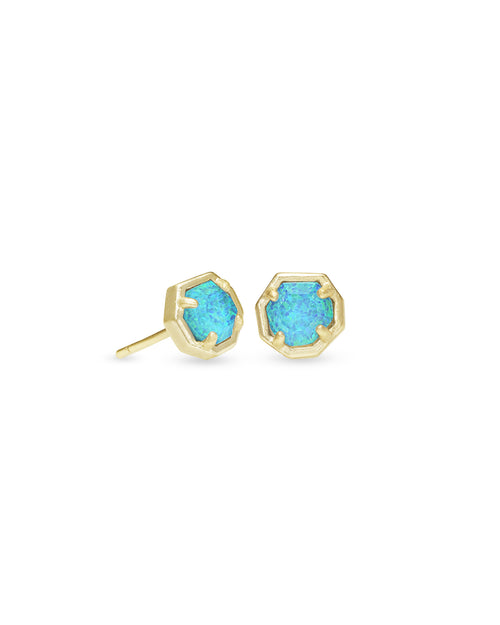 Nola Stud Earring in Gold Turquoise Opal Illusion