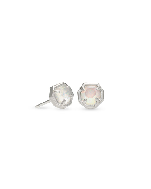 Nola Stud Earring in Rhodium White Opal Illusion