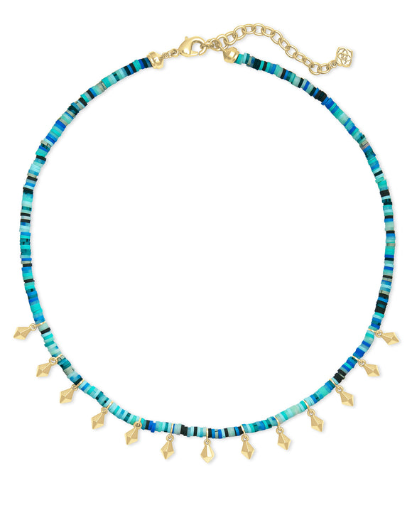 Reece Choker Necklace in Gold Sea Green Mix