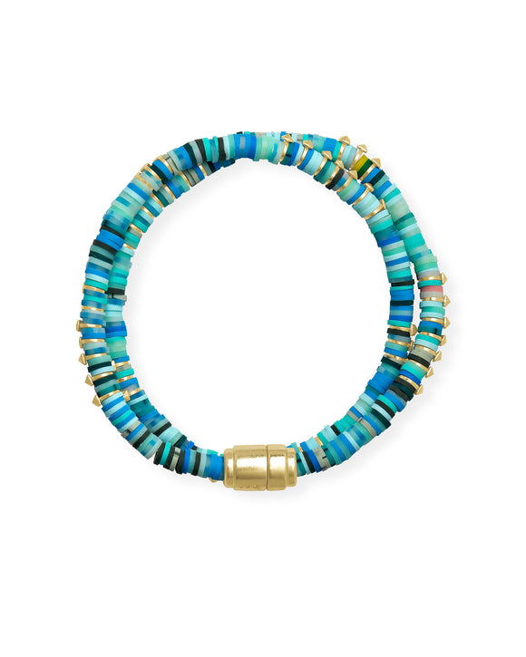 Reece Wrap Bracelet in Gold Sea Green Mix