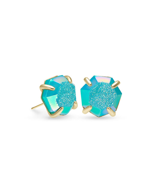 Ryan Stud Earring in Gold Bright Aqua Drusy