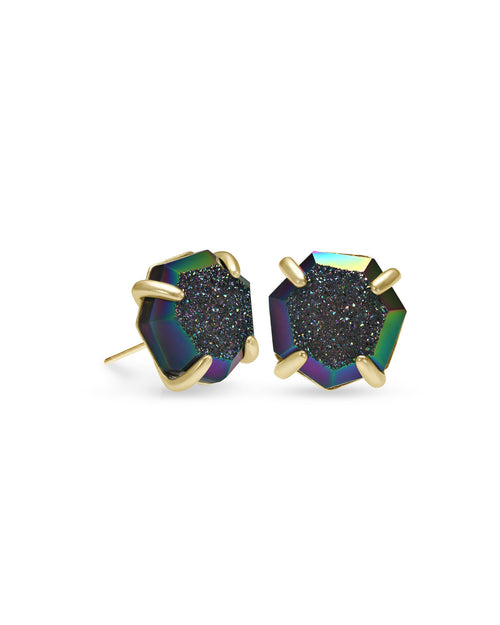 Ryan Stud Earring in Gold Mystic Gray Drusy
