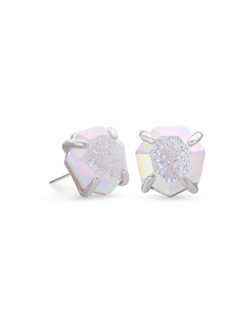 Ryan Stud Earring in Rhodium Iridescent Drusy