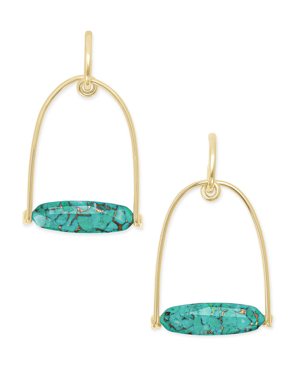 Sassy Statement Earrings in Gold Bronze Veined Teal