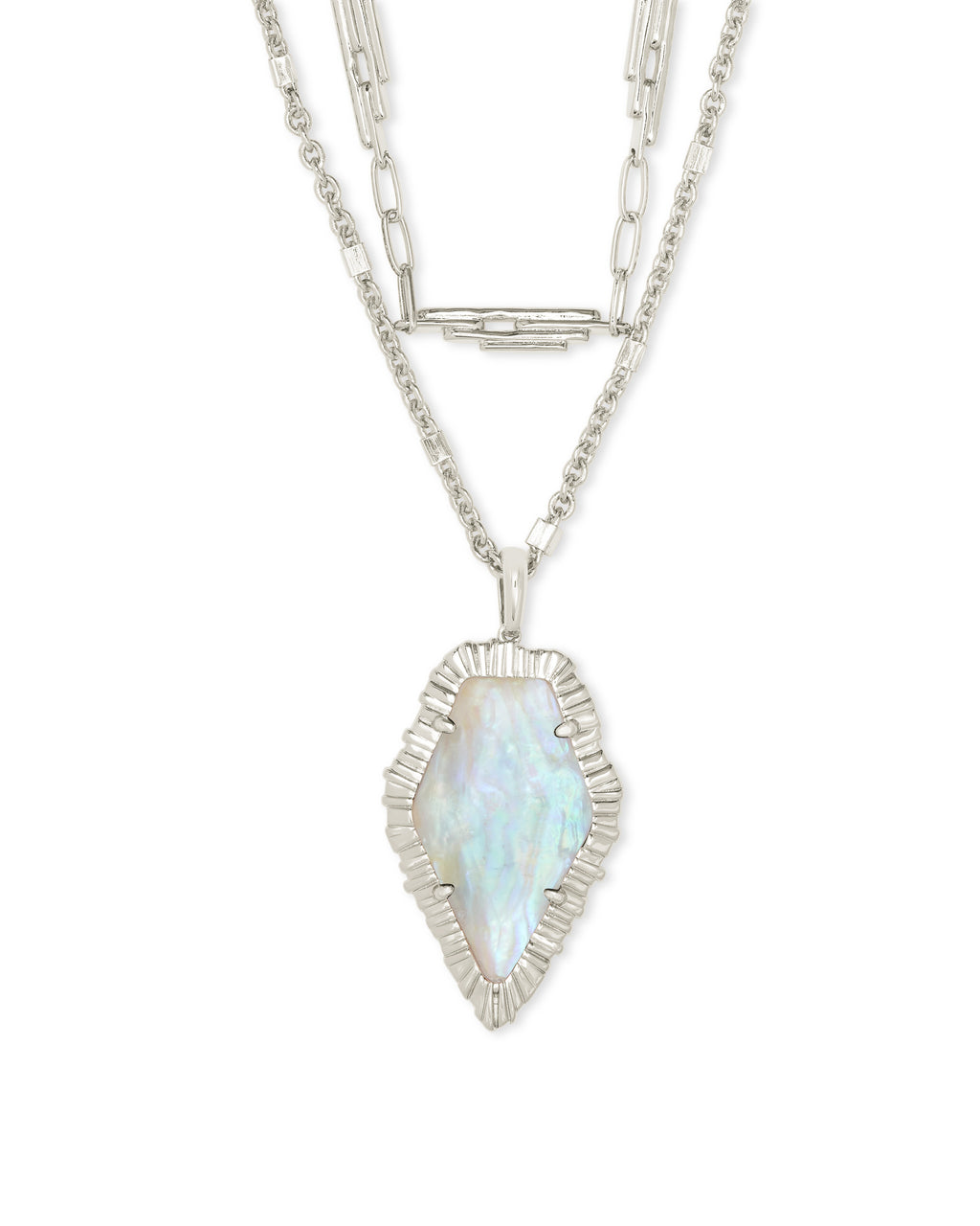Tessa Multi Strand Necklace in Silver Iridescent Abalone