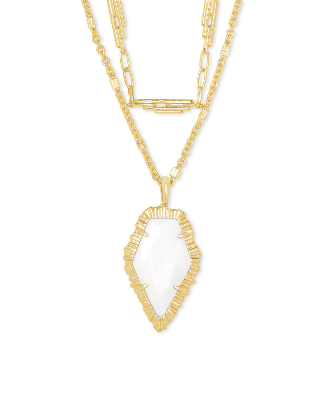 Tessa Multi Strand Necklace in Gold White Mussel