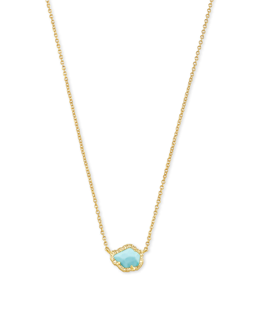 Tessa Small Pendant Necklace in Gold Light Blue Magnesite