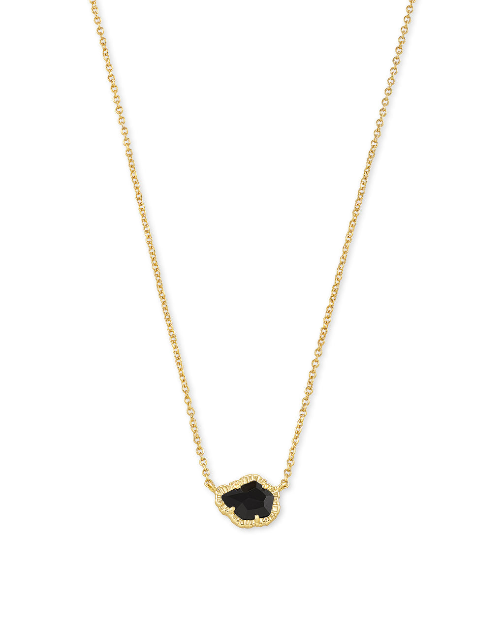 Tessa Small Pendant Necklace in Gold Black Obsidian