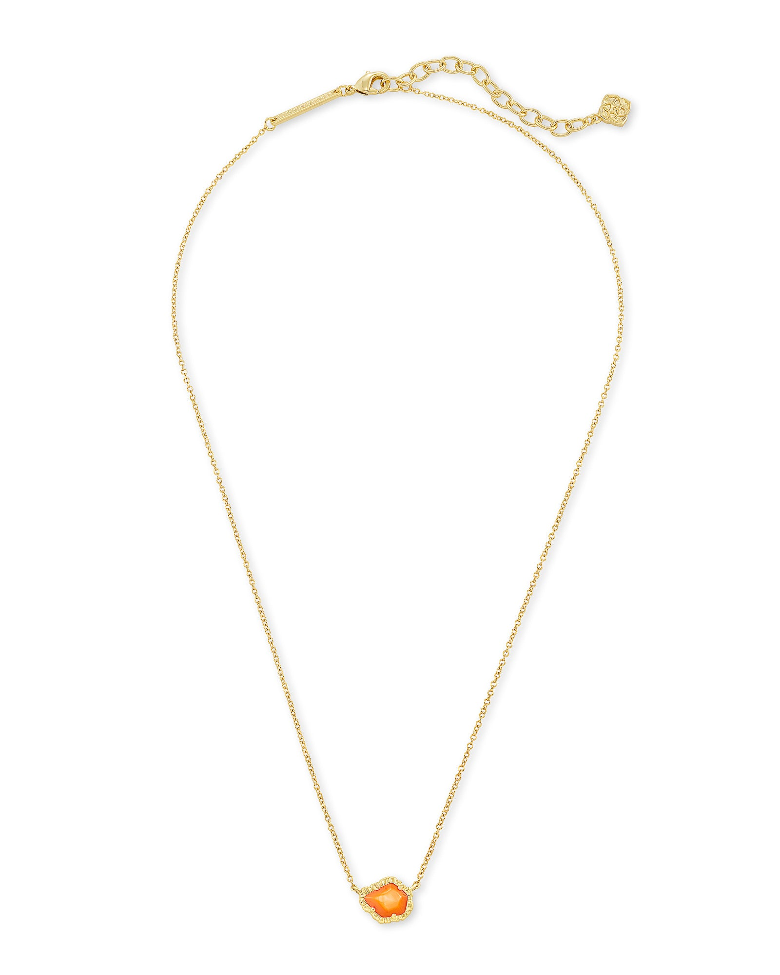 Tessa Small Pendant Necklace in Gold Papaya Mother of Pearl