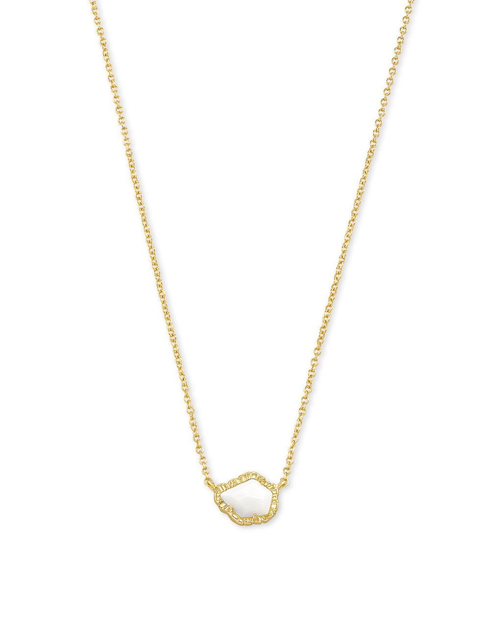 Tessa Small Pendant Necklace in Gold White Mussel