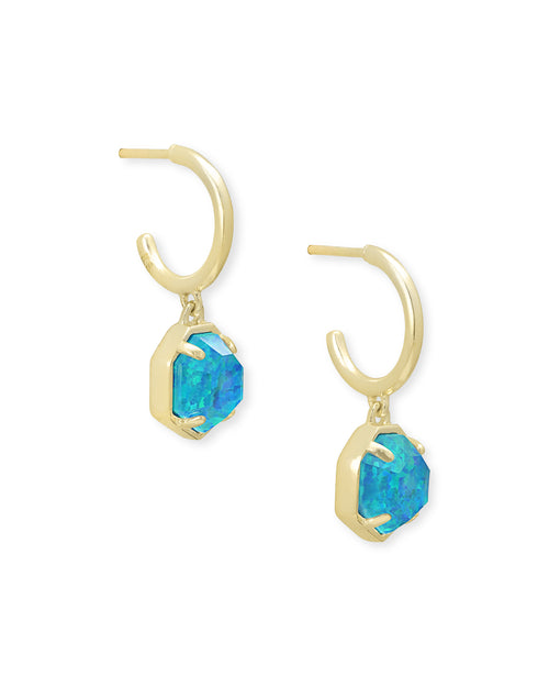 Tomon Huggie Earring in Gold Turquoise Opal Illusion