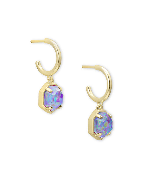 Tomon Huggie Earring in Gold Violet Opal Illusion