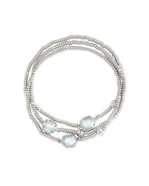 Tomon Stretch Bracelet in Silver Iridescent Abalone