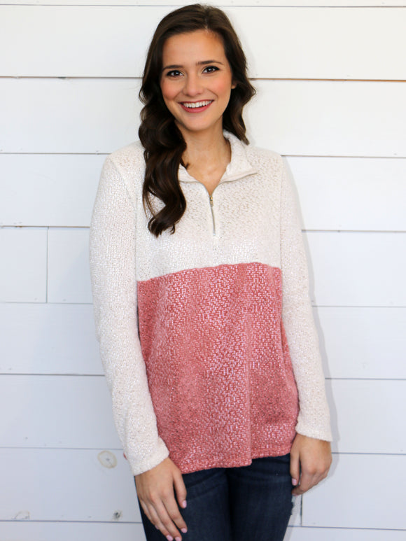 Color Block Cutie Pullover in Mauve