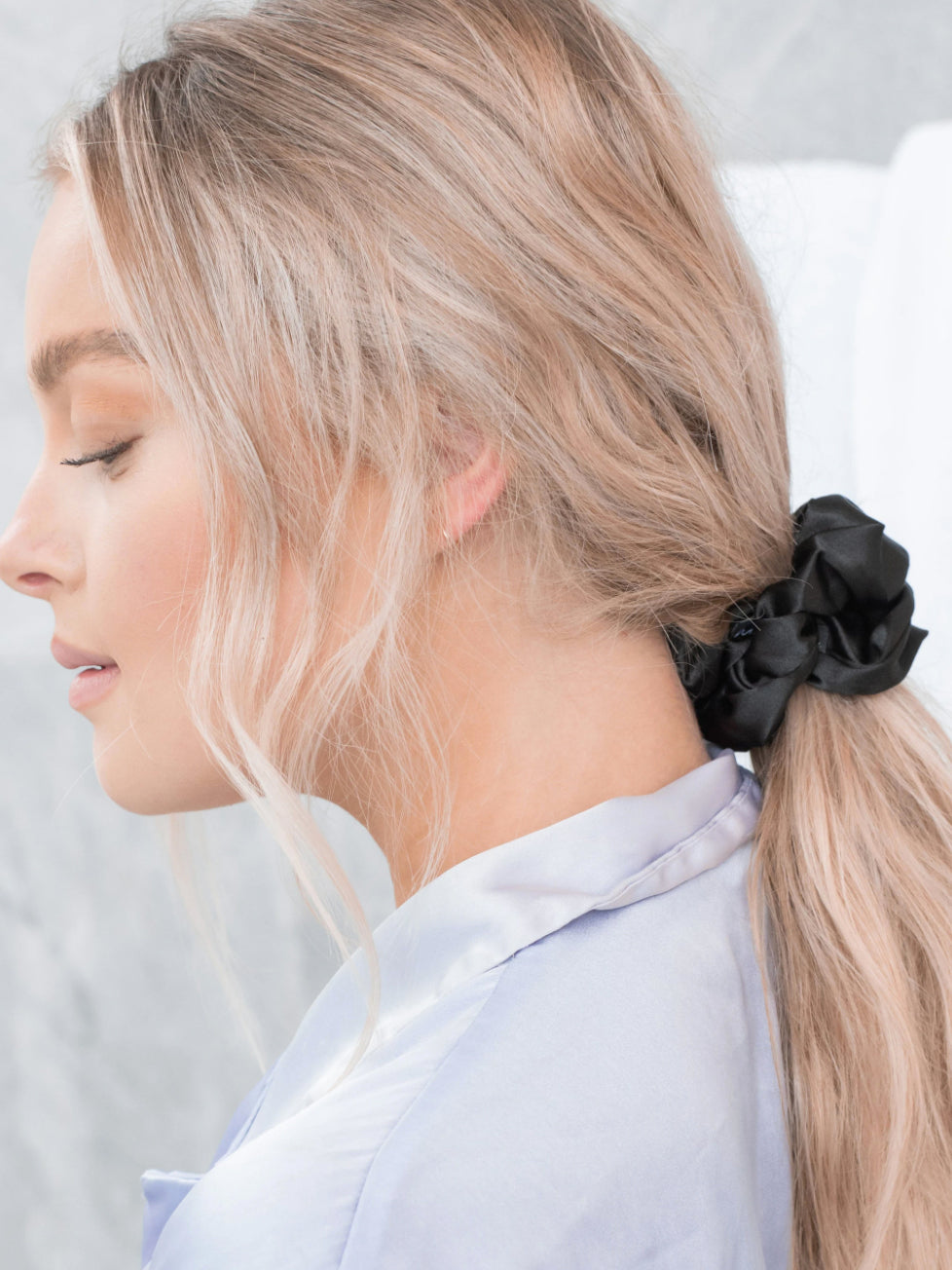 Caring for Me Satin Scrunchie in Black
