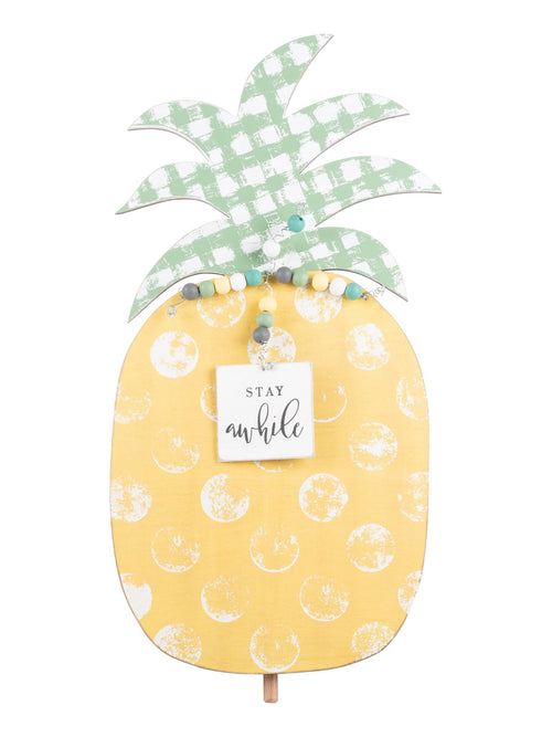 Welcome Board Topper in Stay Awhile Pineapple