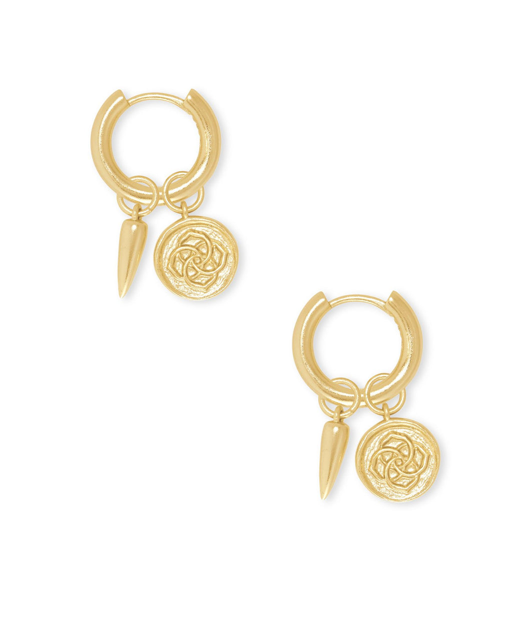Dira Coin Huggie Earring in Gold Metal