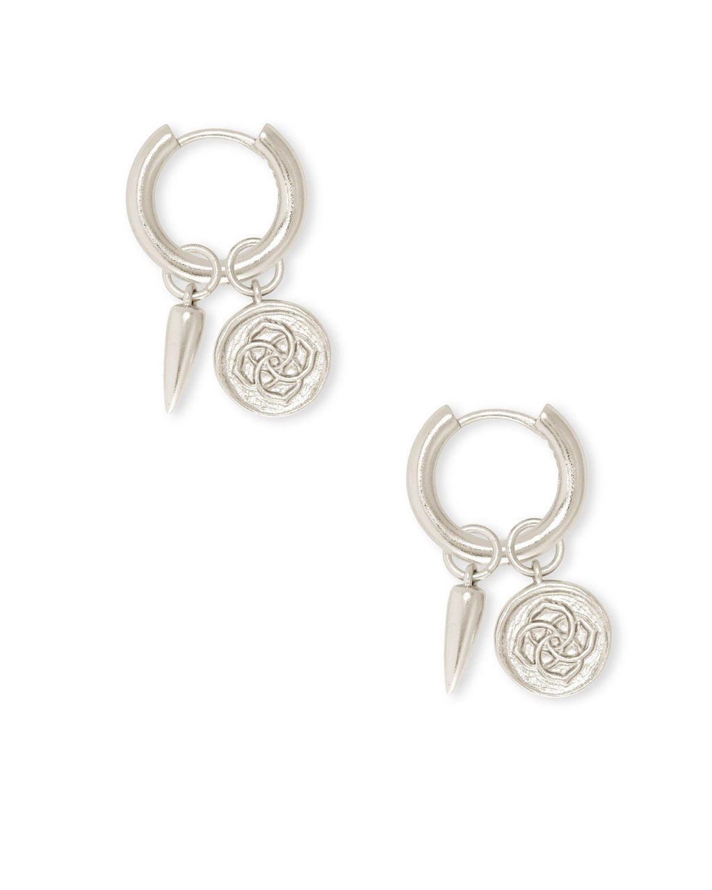 Dira Coin Huggie Earring in Silver Metal