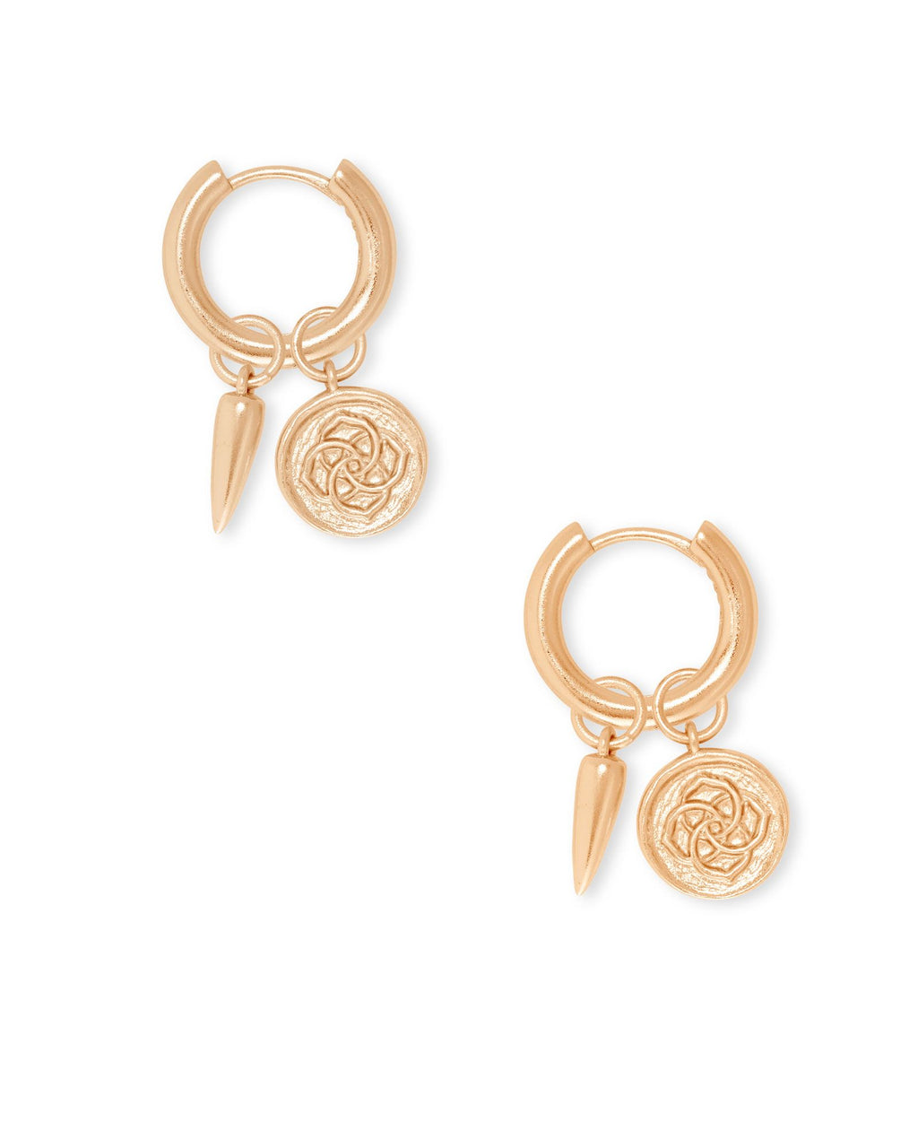 Dira Coin Huggie Earring in Rose Gold Metal